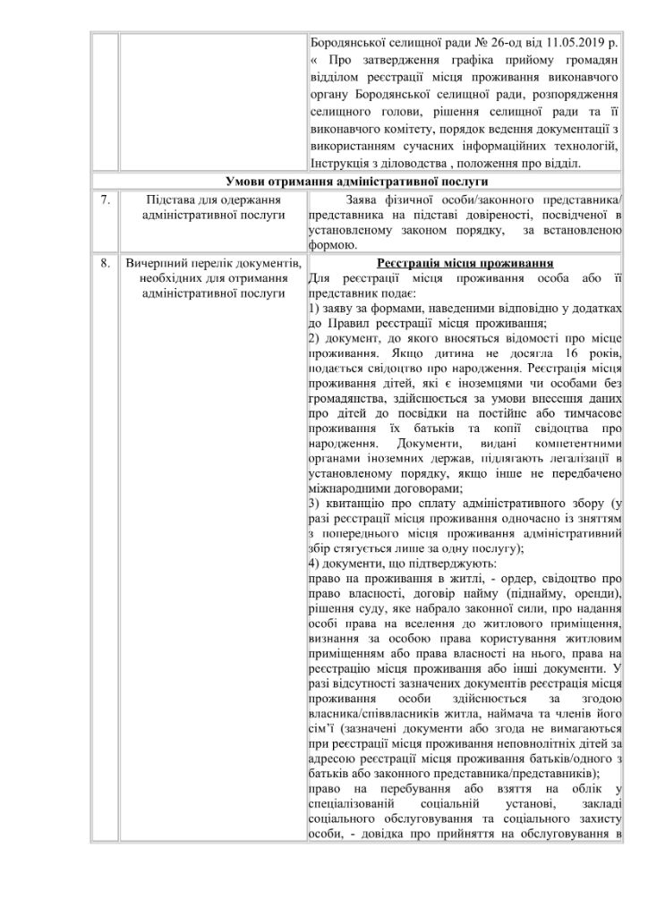Інформаційна картка БОРОДЯНКА-2
